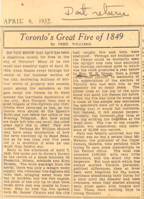 Newspaper Clipping: Toronto's Great Fire of 1849