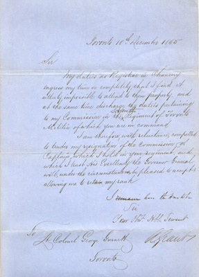 Letter: Resignation of Commission by Alex Grant December 18 1855