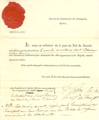 Document: King's Order to Militia Regiments November 29 1840