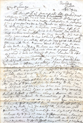 Letter: James Magrath to Lorenzo September 12 1842