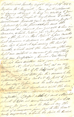 Letter: Lorenzo Weld to James Magrath August 15th 1842