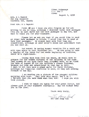 Letter: Mr. Lee Bong Suk to Annie Sayers August 4 1958