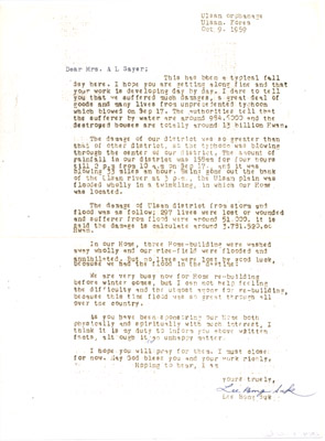 Letter: Mr. Lee Bong Suk to Annie Sayers September 17 1959