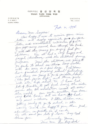 Letter: Mr. Lee Bong Suk to Annie Sayers February 2 1974