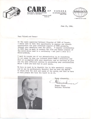 Letter: Mr. Thomas Kines (Director of CARE Canada) to Annie Sayers January 5 1967