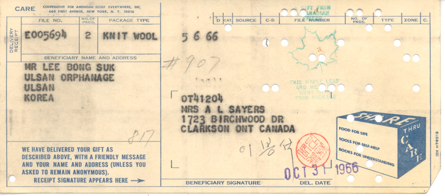 Receipts: Mr. Lee Bong Suk to Annie Sayers October 31 1966