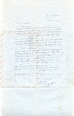 Letter: Mr. Lee Bong Suk to Annie Sayers January 14th 1970