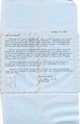 Letter: Mr. Lee Bong Suk to Annie Sayers December 22 1966