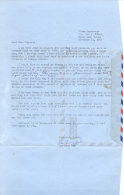 Letter: Mr. Lee Bong Suk to Annie Sayers November 10 1966