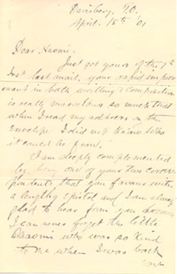 Letter: A. Stuart Molony to Naomi Harris April 15 1901
