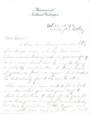Letter: Maurice William Hime to Naomi Harris February 22 1916