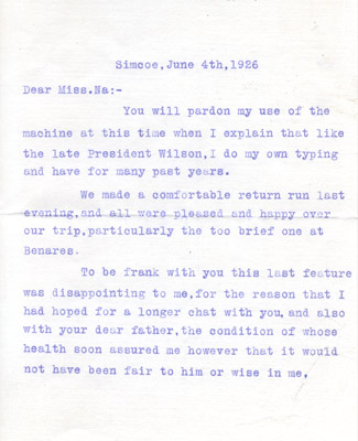 Letter: Henry Groff to Naomi Harris June 4 1926