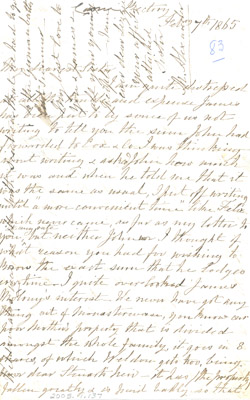 Letter: M. Alexander to Elizabeth Molony Harris February 7 1865