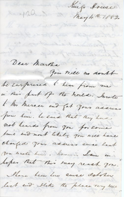 Letter: W. Harris to Martha May 4 1882