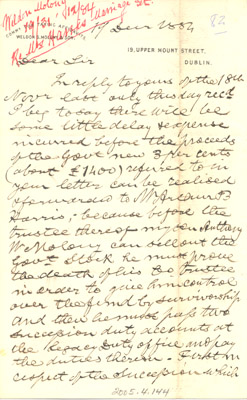 Letter: Weldon S. Molony to H. L. Hime December 19 1884