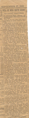 "Newspaper Clipping: ""Will of Miss Edith Grant"""