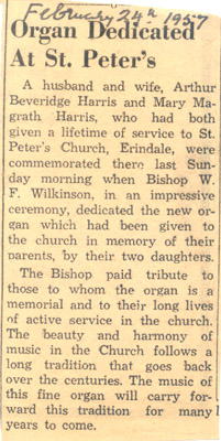 Newspaper Clipping: Organ Dedicated At St. Peter's