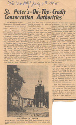 Newspaper Clipping: St. Peter's On The Credit Conservation Authorities