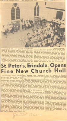 Newspaper Clipping: St. Peter's, Erindale Opens Fine New Church Hall