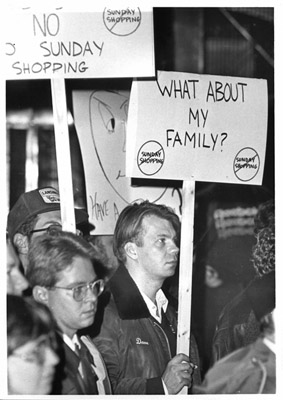 Photograph-Mississauga protestors against Sunday shopping