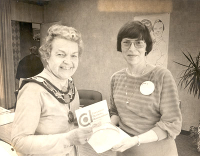 Photograph- Mayor Hazel McCallion with a woman from the Canadian Diabetic Association