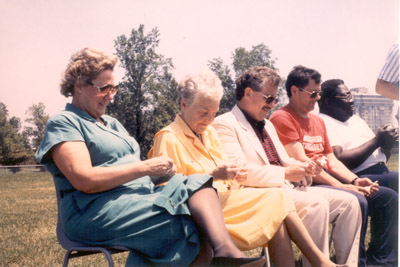 Photograph- Mississauga Track Club:  Five people including Mayor, sitting on Chairs