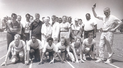 Photograph- Members of City Council with a group of track runners