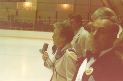 Photograph- NHL Oldtimers hockey game: opening speech by Mayor McCallion