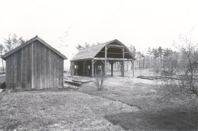 Photograph- Bradley Barn being Built