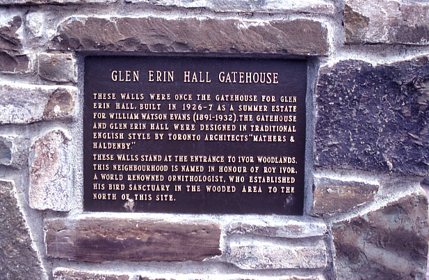 Evans Estate (Glenerin Hall), Gate-house Plaque, Erindale