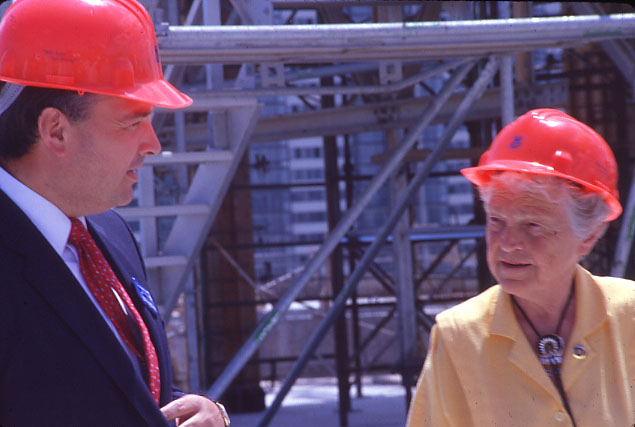 Mayor McCallion and Dr. McFarlane at Central Library Topping Off Ceremony, July 1989