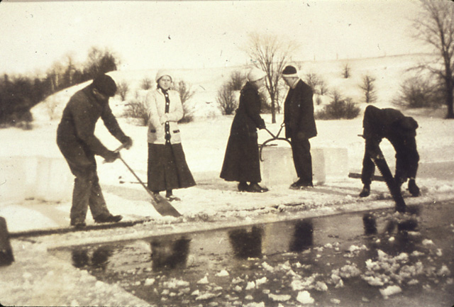 Cutting Ice on the P.U.C. Dam, Streetsville