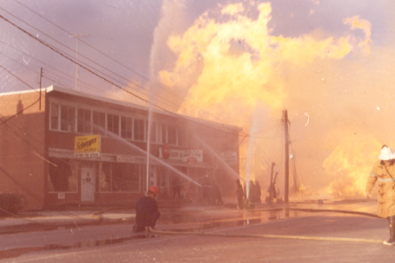 Firefighters fighting the Fire at the Variety Store, Derry Road, Malton Gas Fire, 1969