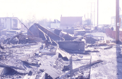 Remains of the Plaza Destroyed in the Malton Gas Fire, 1969