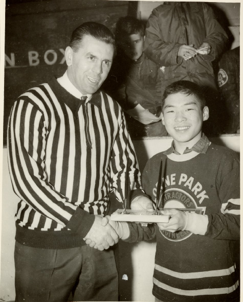 Maurice Richard with Danny Higashi at Dixie Arena, December 20, 1960