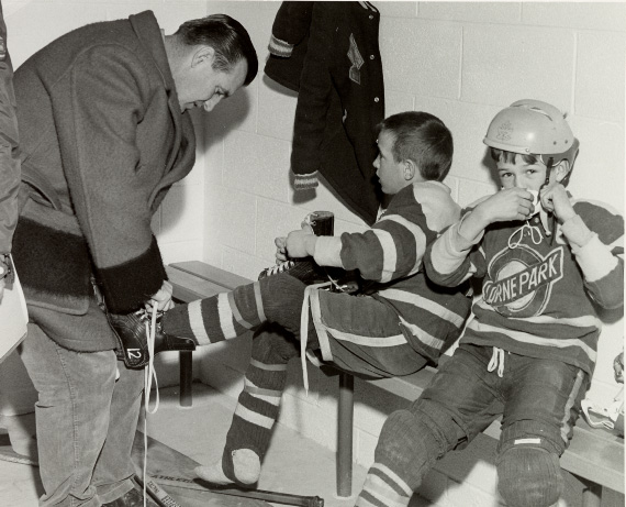 Maurice Richard with Young Hockey Players at Dixie Arena, December 20, 1960