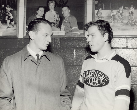 Jim Pappin with a Lakeview Team Member, Maple Leaf Gardens, Toronto
