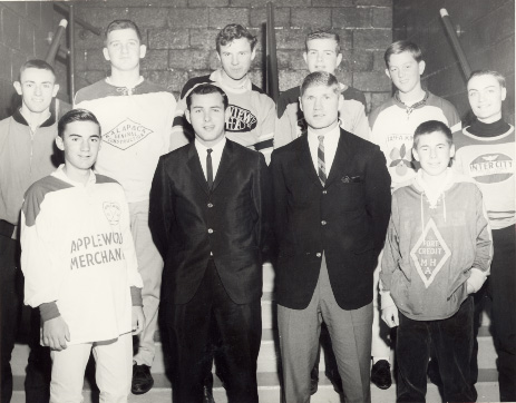 John Brenneman and Vic Hadfield with Toronto Township Hockey League Players at Maple Leaf Gardens