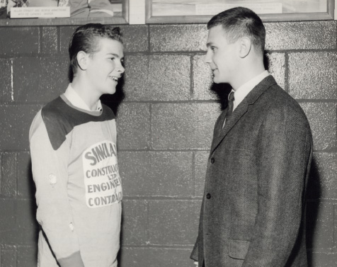 Brit Selby with a Toronto Township Team Member at Maple Leaf Gardens, Toronto