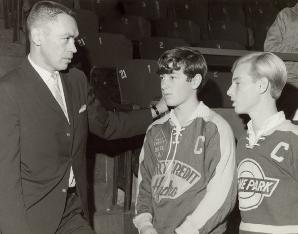 George Armstrong with Toronto Township Team Members at Maple Leaf Gardens, Toronto