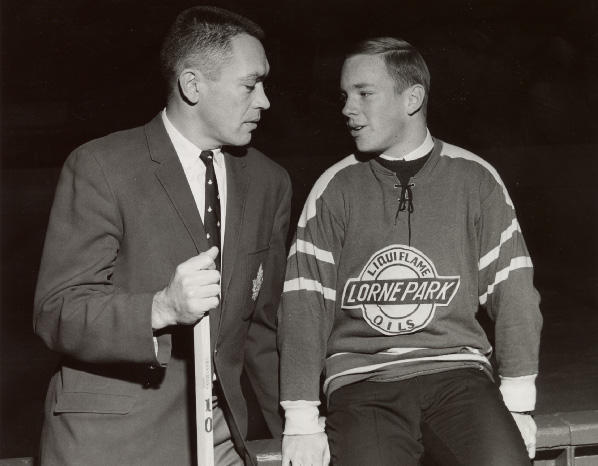 George Armstrong with Jim Darling, a Lorne Park team member, at Maple Leaf Gardens, Toronto