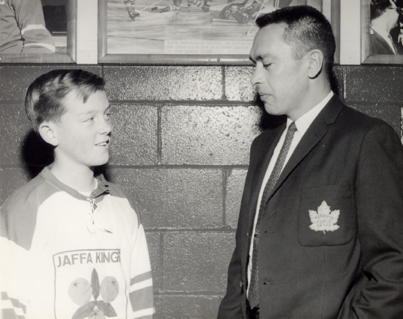 George Armstrong with a Toronto Township Hockey Player at Maple Leaf Gardens, Toronto