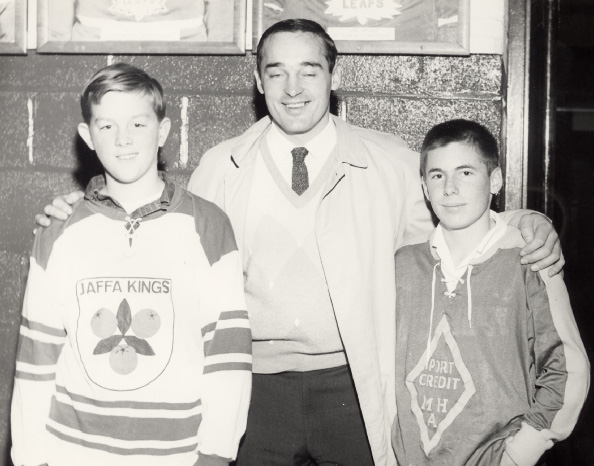 Frank Mahovlich with Toronto Township Team Members at Maple Leaf Gardens