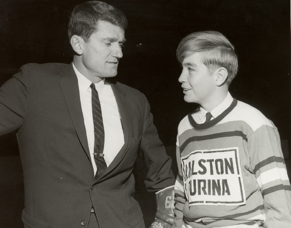 Allan Stanley with Toronto Township Team Member at Maple Leaf Gardens