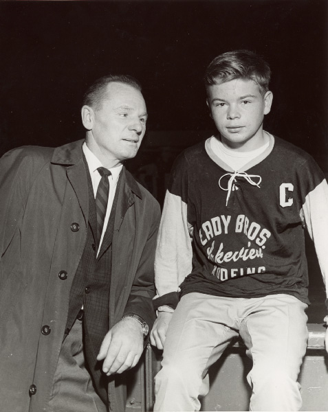 Johnny Bower with Lakeview Team Member at Maple Leaf Gardens