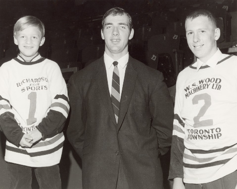 Wayne Carleton, with Toronto Township Team Members at Maple Leaf Gardens