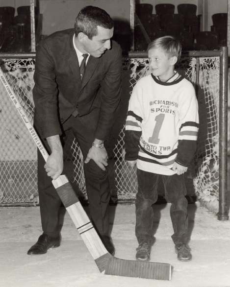 Eddie Giacomin with Toronto Township Team Member at Maple Leaf Gardens