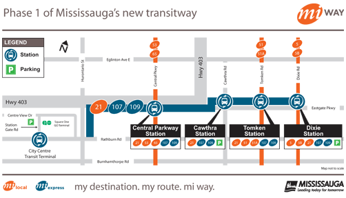 Map of Phase 1 of Mississauga's new transitway