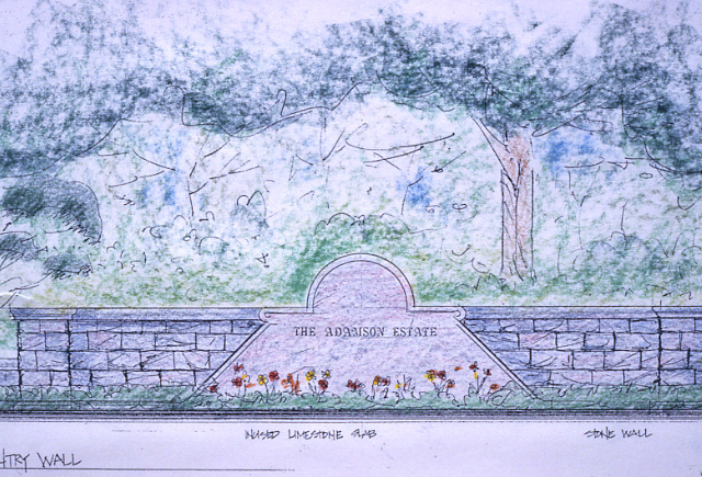 Adamson Estate, Sketch of Stone Entry Wall, Lakeview