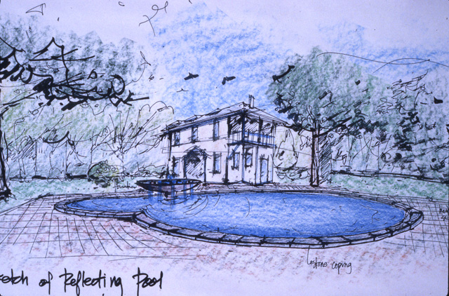 Adamson Estate, Sketch of the Reflecting Pool, Lakeview